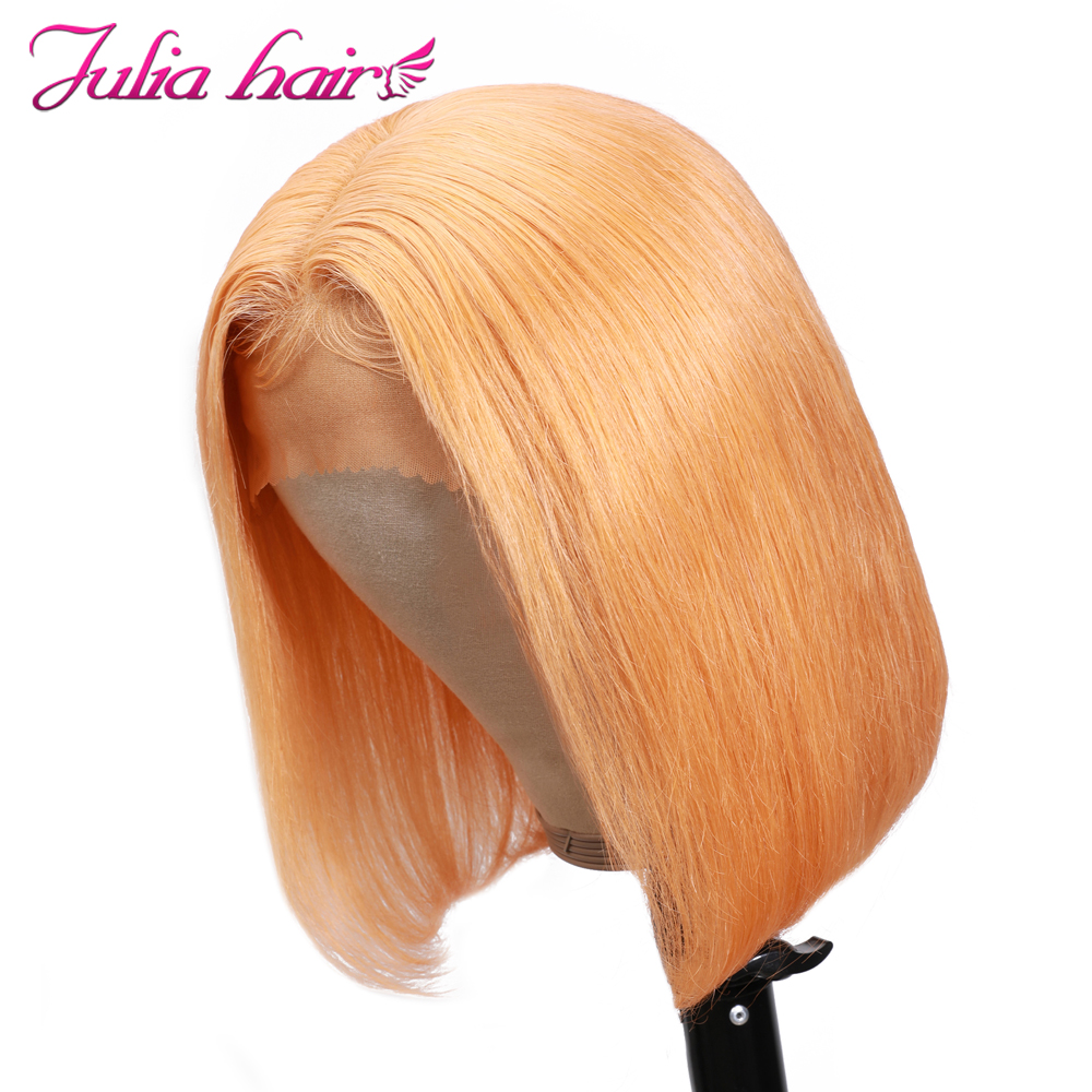 Blonde Bob Lace Front Human Hair Wigs Straight Brazilian Remy 613 Yellow Pink Green 13x4 Lace Front Short Bob Wig Pre Plucked (12)