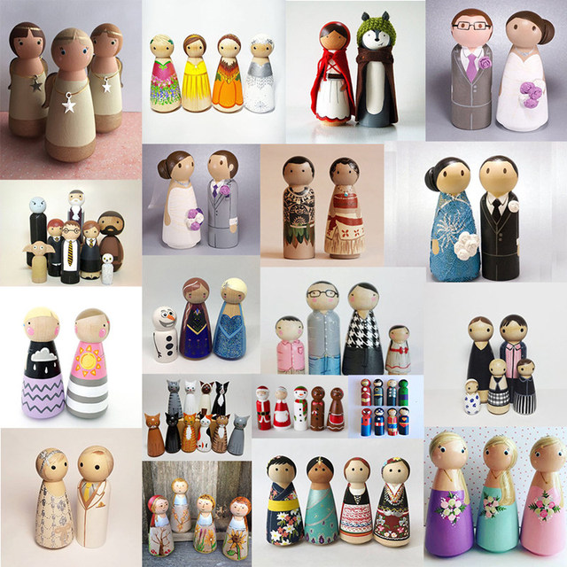 Let's Make 10PCS 65mm,55mm,43mm,35mm Wooden Peg Dolls Girl Boy Wood Dolls Kids Room Decor DIY Unfinished Wooden Peg Dolls 5