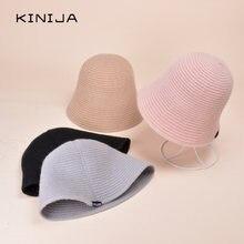 Осенняя Женская Стандартная шапка женская с колокольчиком Корейская
