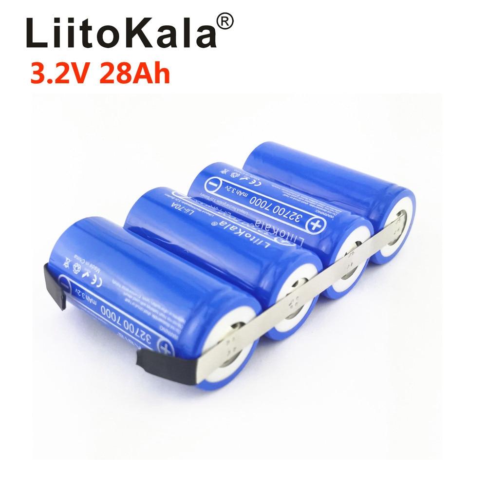 Аккумулятор LiitoKala LiFePO4 32700, 3,2 в, 14ач, 21ач, 28ач, 35ач, 24ач, непрерывный разряд, максимальная мощность 55а, аккумулятор высокой мощности + никелевые ...