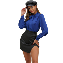 JYSS autumn new black pu leather skirts womens all-match  a-line split girl mini skirt for lady female FR058