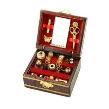 Accessoires de maison de poupée Miniature, Mini boîte à bijoux en bois remplie, jouet pour enfants, 1/12