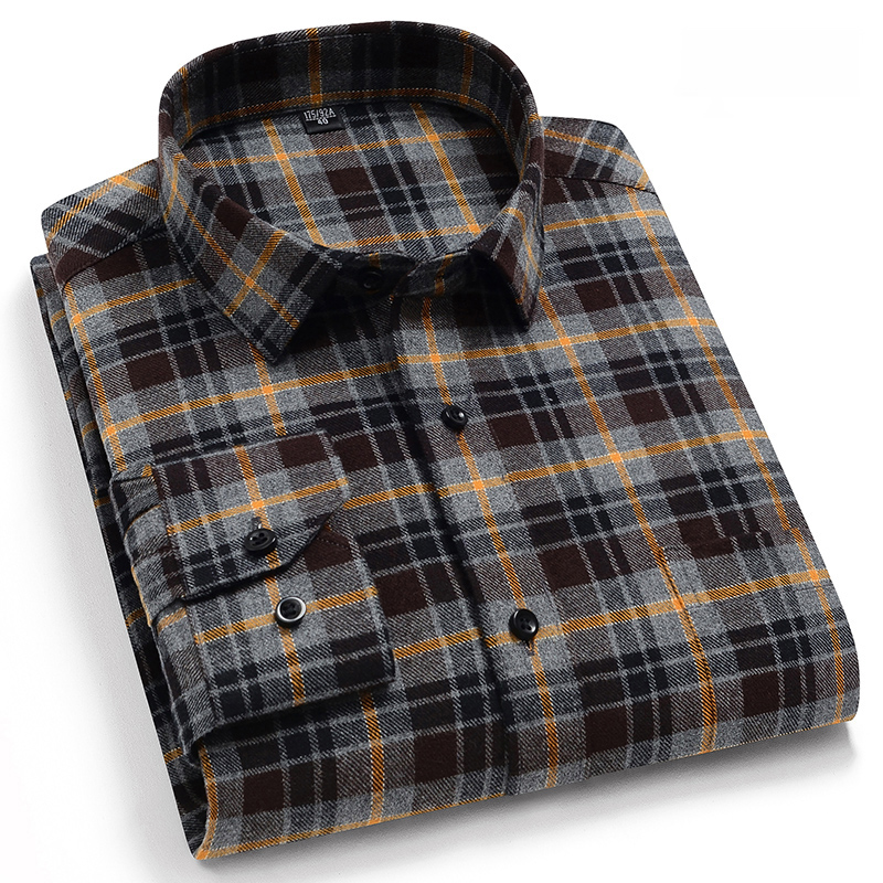 Pure Cotton Classical Men's Plaid Casual Warm Shirts Full Sleeve Brushed Fabric Soft Comfortable Regular Fit Male Shirts