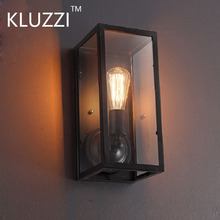 KLUZZI American European Retro Industrial Garden Aisle Corridor Lamp Glass Box Iron Art Waterproof LED Wall Lamp Lights