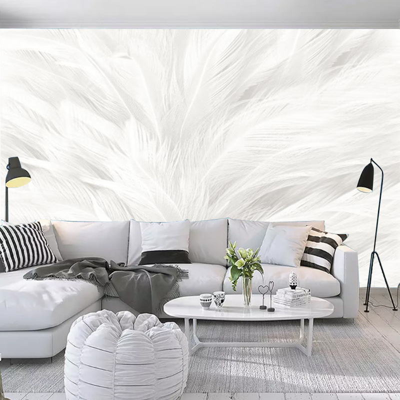 Nordic Minimalist Modern Hand-Painted White Feather Wallpaper Hall Bedroom TV Background Wallpaper Seamless Mural