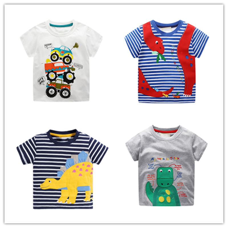 VIDMID Baby Boys Short Sleeve T-shirts Clothes Kids Cartoon Dinosaur Tees Boys Striped Clothing T-shirts Tops 2-7 Years Clothes