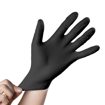 100Pcs Black Nitrile  Disposable Gloves Anti-skid Acid And Alkali  Catering Housework Baking Protection