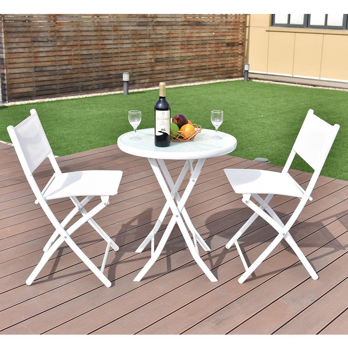 costway 3 pcs folding bistro table chairs set garden backyard patio furniture white