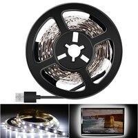 Tira de luz LED USB 5V 2835 1M 2M 3M 4M 5M iluminación de fondo de TV tira de luces Led 220V 110V enchufe USB blanco cálido/frío decoración del hogar