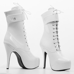 Image 4 - jialuowei 2019 Spring Sexy single boots Lace Up 15cm High Thin heel 4CM platform ankle short boots ladies womens Padlocks boots