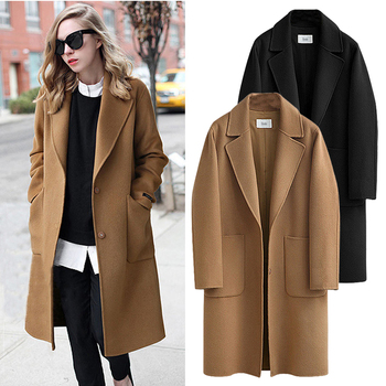 Plus Size 5XL Autumn Winter Coats 2019 European Style Women Long Coats Single-breasted Hairy Female Jacket Coat Women Clothes