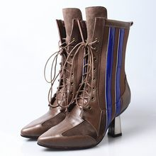 Brand Fashion Runway Winter Laarzen Vrouwen Lederen Hoge Hak Sok Boot Patchwork Puntschoen Lace Up Dame Schoenen Botas mujer(China)