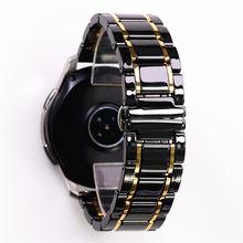 Ремешок из керамики и нержавеющей стали для Samsung s2 3 4 Huawei GT, роскошный браслет для наручных часов, 20 22 24 мм, черный белый