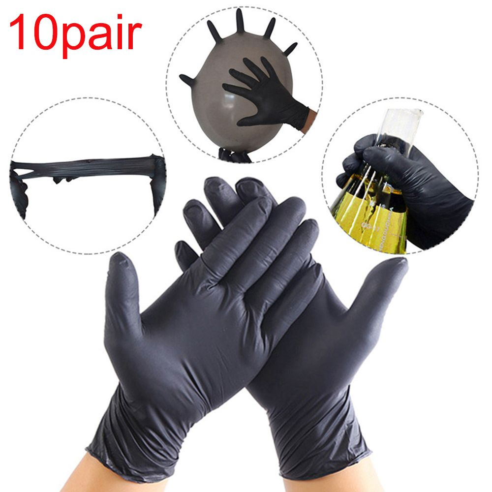 20Pcs/10 Pairs Comfortable Rubber Disposable Mechanic Laboratory Safety Work Nitrile Gloves Black White Safety Work Gloves
