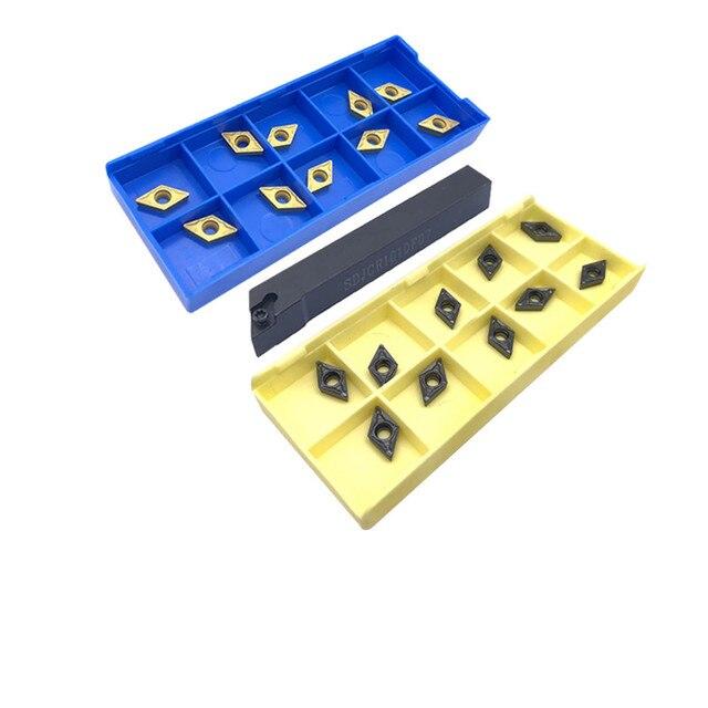 10 pièces DCMT070204 plaquettes carbure HMP + 1 pièce SDJCR SDJCL 10mm 12mm 16mm porte-outil de tournage interne CNC coupe-tour