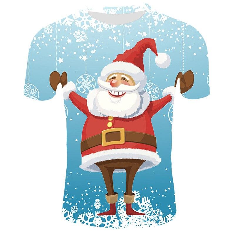 Модные футболки с рождественским узором, мужские Забавные футболки с принтом Санта-Клауса, повседневные 3d футболки, вечерние футболки со снеговиком, одежда с коротким рукавом - Цвет: T33