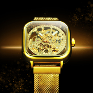 FORSINING Top Luxury Brand Watch Mens Auto Mechanical Magnet Strap Fashion Royal Transparent Skeleton Wristwatch Clock мужские