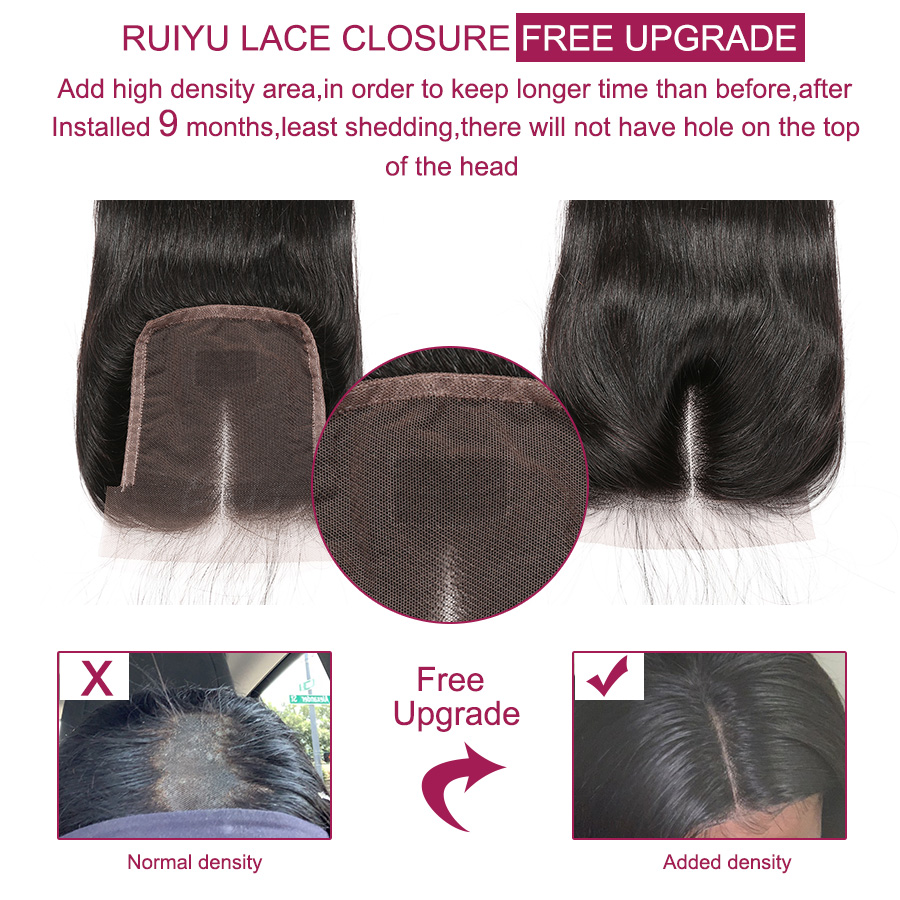 Image 5 - Straight Hair Bundles With Closure Brazilian Hair Weave Bundles With Closure RUIYU Human Hair With Closure Non Remy Hair Extens-in 3/4 Bundles with Closure from Hair Extensions & Wigs