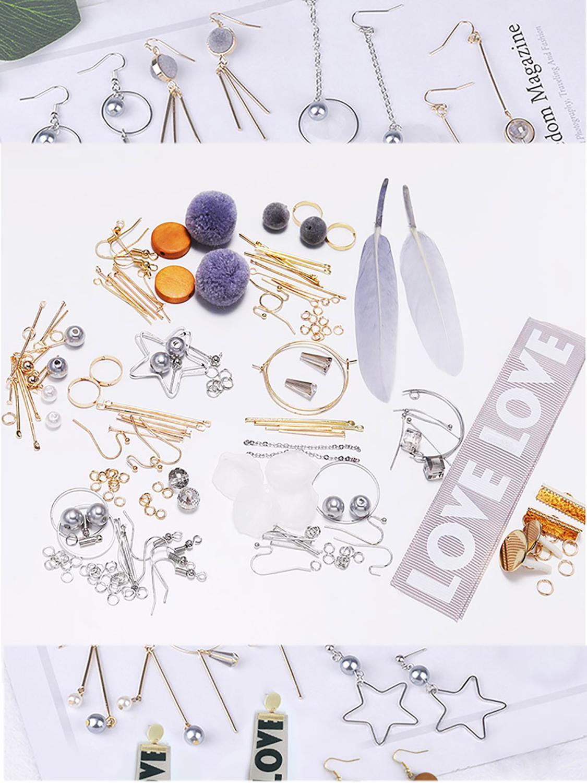 US $5.58 30% OFF|Fashion Earrings DIY Jewelry Package Sweet gray Korean long earring Women's Ear Studs Drop Earrings Hooks DIY Jewelry Making on AliExpress