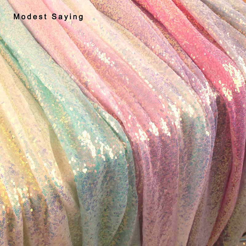 1 Yard Fish Scales Symphony Sequins Fabric For Evening Dress Wedding Party Prom For DIY 3mm Laster Glitter Cloth Backdrop Mesh