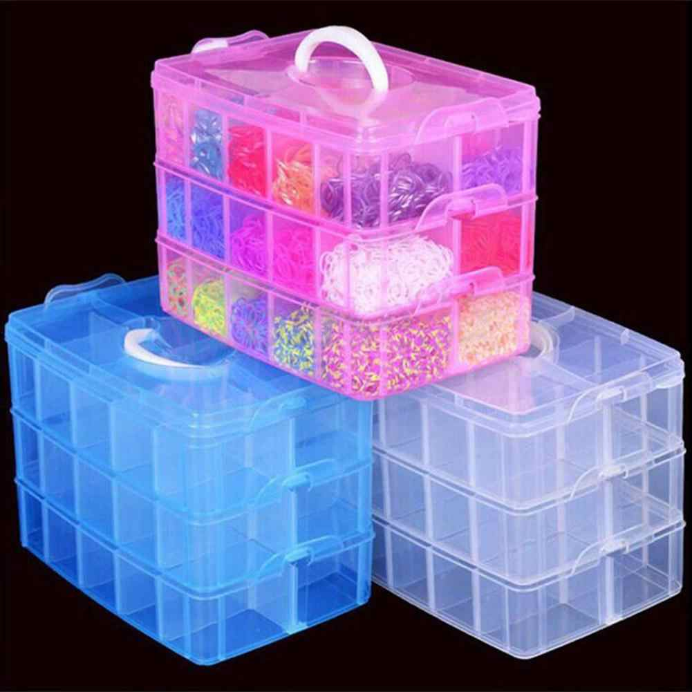 3 Layers 18 Compartments Clear Storage Box Container Jewelry Bead Organizer Case