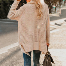 2019 loose sweater women plus size cardigan double pocket irregular lapel long