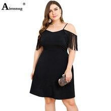 Aimsnug Spaghetti Strap Dresses Plus Size Loose Casual Mini Dress Women Summer V Neck Black Tassel Short Sleeve
