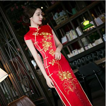 Red Women Chinese Traditional Dress Red Bridal Wedding Dress Chinese National Long Qipao Female Cheongsam Dresses Plus size