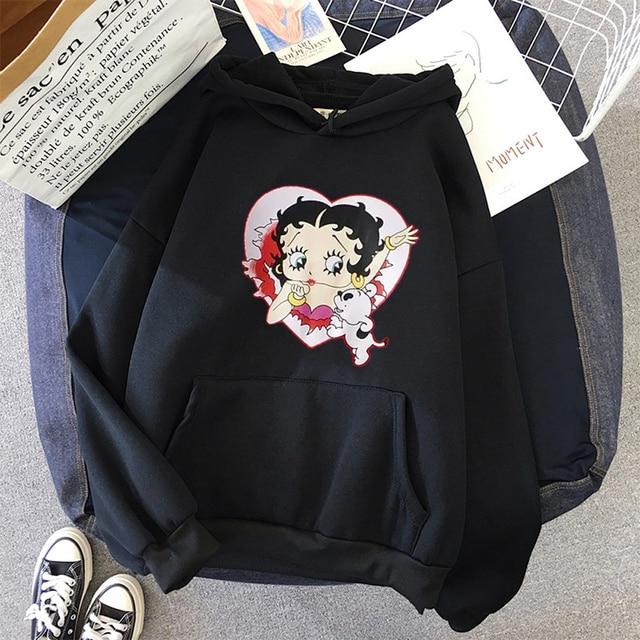Plus Size sweatshirt Women Summer 2021 Spring Oversized Cute Print hoodie Cute Hip hop Kawaii Harajuku womens tops clothes 4