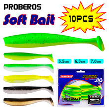 PROBEROS 10Pcs Shad Fishing Lures Soft Baits 55-65-70mm Silicone Wobbler Baits Carp Bass Fishing Soft Lures Artificial Pike Bait