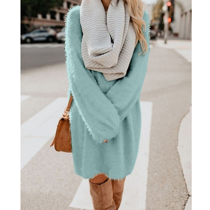 CINESSD Women Long Pullovers Sweater Solid O Neck Long Sleeve Casual Loose Plus Size Plush Woolen Soft Winter Pullover Sweaters