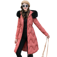 2019 New Autumn Hooded Women parka Solid zipper Long sleeve Mid LongOutwear Coat Jacket Thick warm Fashion Cotton Female C62