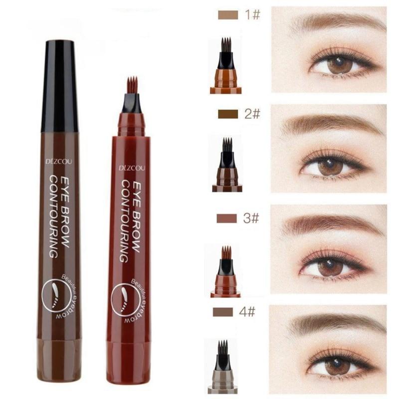 New Long Lasting Fine Sketch Liquid Eye Brow Pencil 4 Color Eyebrow Pen Waterproof Fork Tip Eyebrow Tattoo Pencil