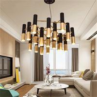 Ike preto e ouro metal alumínio tubo lustre lâmpada itália design moderno luz de suspensão para led lustre