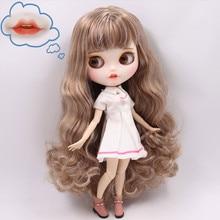 Buzlu çıplak Blyth Doll No. BL340/9158 kahverengi karışımı gri saç oyma dudaklar Pouting ağız mat özelleştirilmiş yüz ortak vücut 1/6 bjd