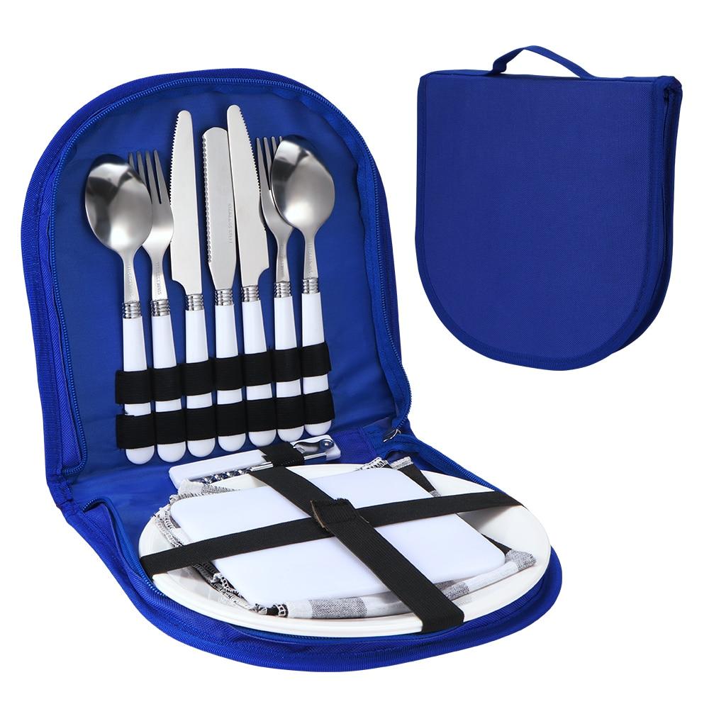 Camping Silverware Kit Stainless Steel Plate Spoon Wine Opener Fork Napkin Outdoor Picnic Kitchen BBQ Travel Utensil Picnic Set