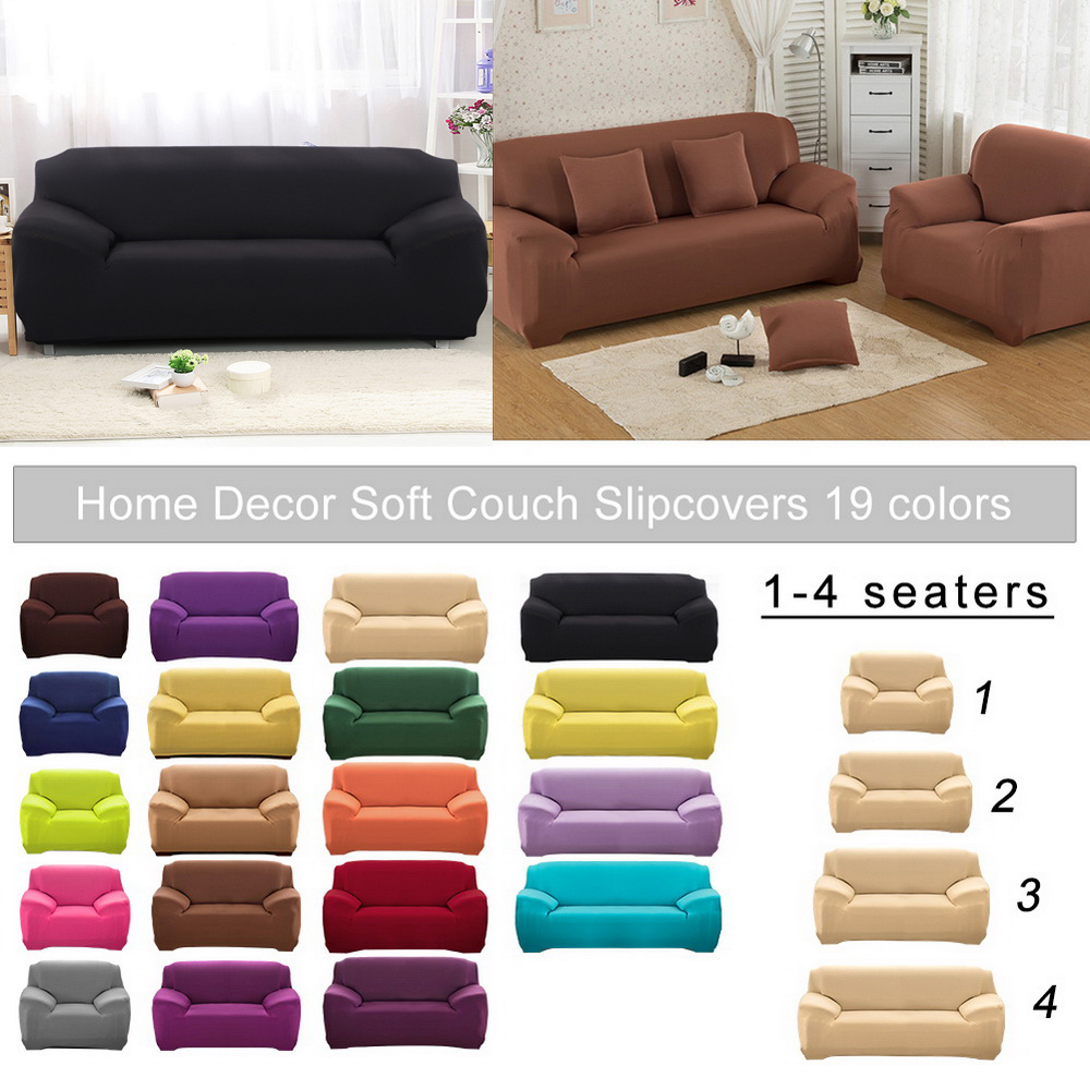 1/2/3/4seats Solid Color Elastic Stretch Sofa Cover Tight Package All  Non-slip Sofa Cover Towel  Universal
