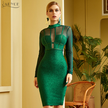 Adyce 2021 New Winter Women Green Long Sleeve Bandage Dress Sexy Lace Hollow Out Midi Club Celebrity Evening Runway Party Dress
