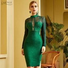 Adyce 2021 novo inverno mulheres verde manga longa bandagem vestido sexy rendas oco para fora midi clube celebridade noite pista vestido de festa