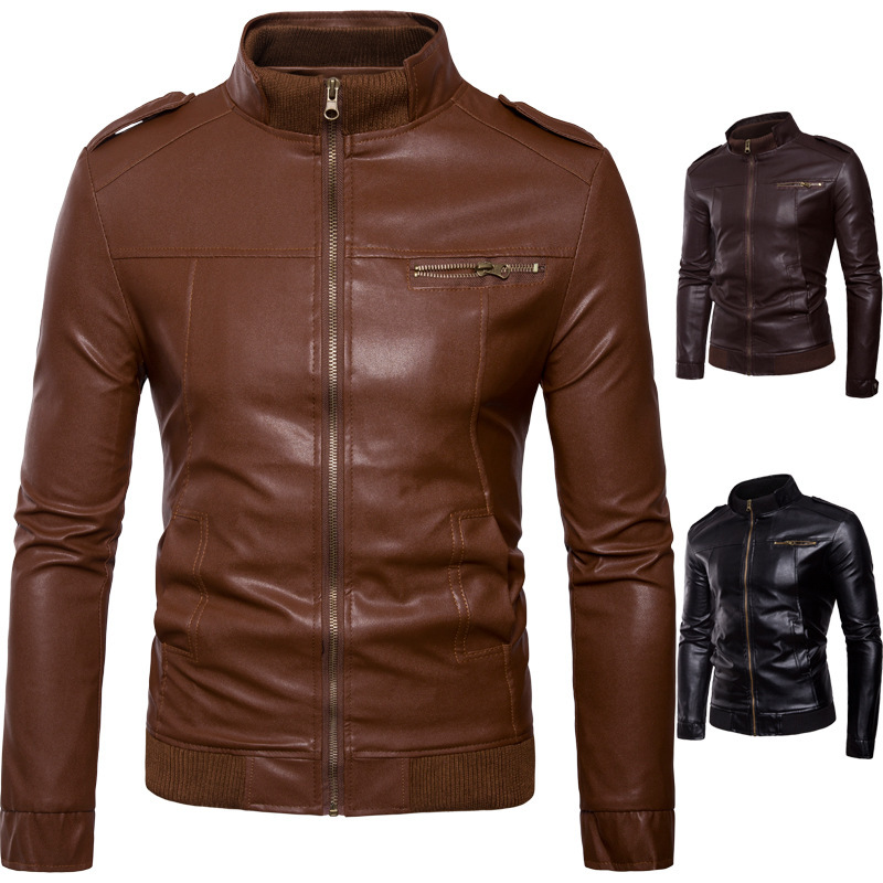 Men England Europe And America MEN'S Leather Coat Trend Stand Collar Fashion Slim Fit MEN'S Leather Jacket Coat Men'S Wear