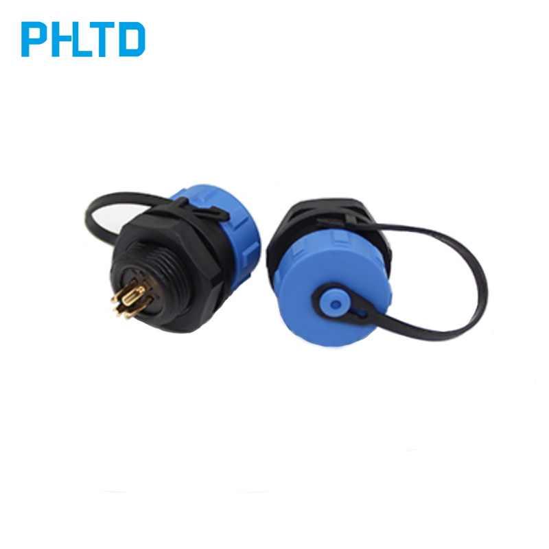 ปลั๊ก Connector การบินกันน้ำปลั๊ก SP13 / SP17 / SP 21/ขั้วต่อด้านหลัง NUT ปลั๊กฝุ่นสีฟ้าหมวก