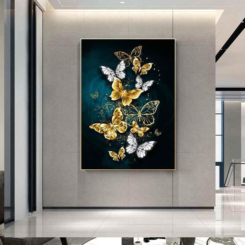 اللون فراشة الشمال نمط المشارك قماش طباعة الحد الأدنى مجردة جدار الفن اللوحة الزخرفية صورة ديكور المنزل الحديث