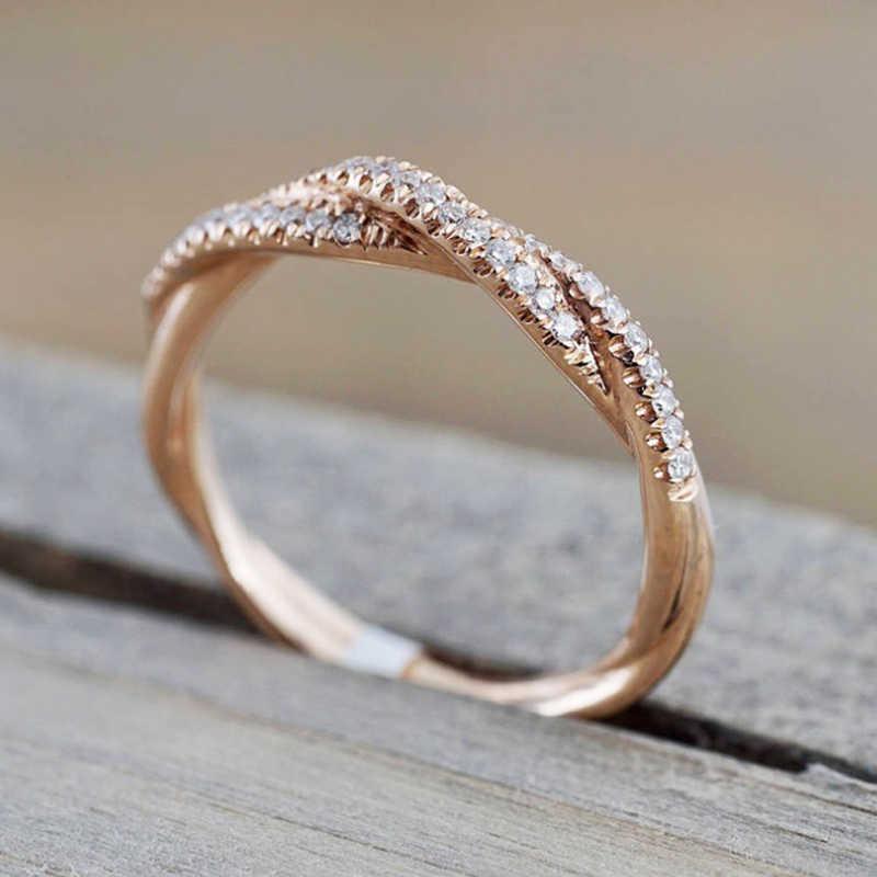 חם כסף עלה זהב צבע טוויסט קלאסי מעוקב Zirconia חתונת אירוסין טבעת לאישה בנות גבישי מתנת טבעות תכשיטים