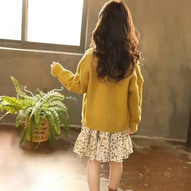 Image 4 - Kids Sweaters Autumn Solid Girls Cardigan Knit Wool Children Girls Clothes Tops Color Yellow Children Girl Warm Winter SweaterSweaters   -
