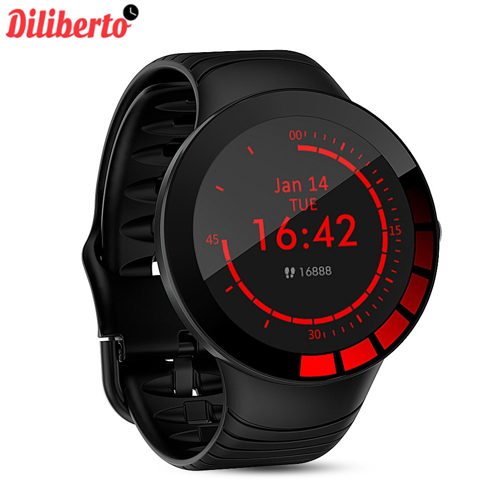 (Real Photo) Diliberto E3 Smart Uhr Männer <font><b>IP68</b></font> Wasserdichte Volle Touch Screen Silikon Strap Relogio <font><b>SmartWatch</b></font> image