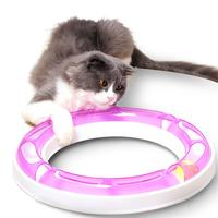 2PCS Funny Cat Track Toys Ball Disk Plastics Interactive Training Kitten Turntable Tunnel Toy For Cats Roller Toy Change Shape #