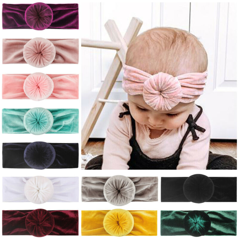 Hot Sale Casual Toddler Baby Velvet Solid Knot Ball Headdress Accessories Headwrap Headband Donut Headwrap Solid Candy Color