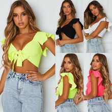 Goocheer 2019 Women Short Sleeve Crop Top Front Knot Tie Ladies Casual Plain t-Shirt knot front spot crop top