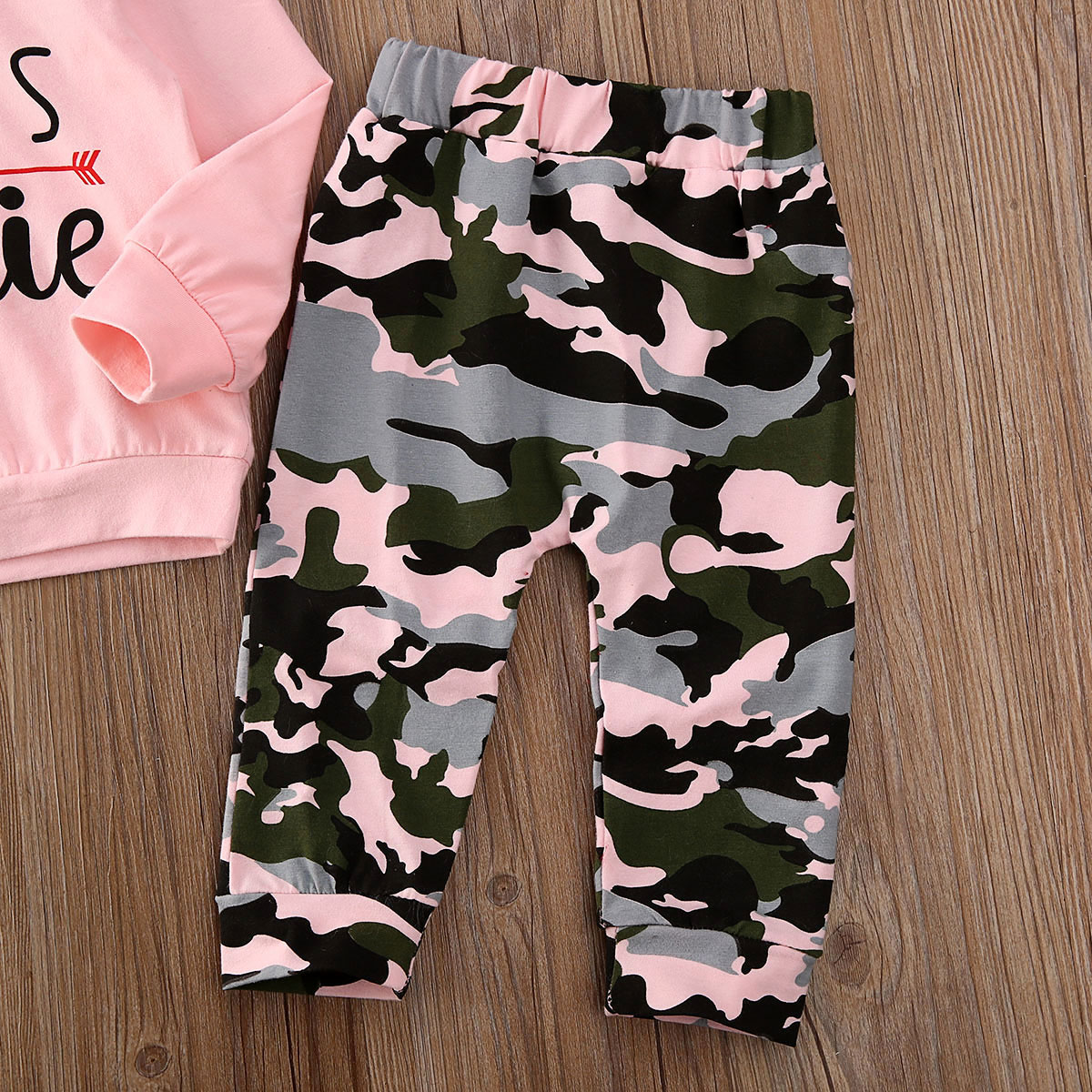 Купить с кэшбэком Cotton Girl Tracksuit 0-24M Toddler Kids Baby Girl Clothes Sets Letter Print Hoodie Top Camouflage Pants Outfit Sets Tracksuit