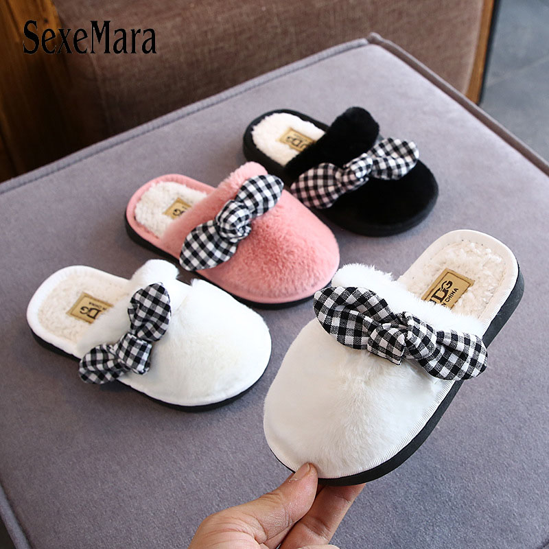 2019 Girl Slippers Kids Winter Children Fur Slides Closed Toe Warm Home Shoes Lovely Plaid Bow Tie Indoor Shoes Slipper C08251